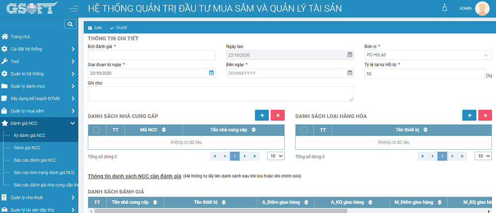 Đánh giá nhà cung cấp được quản lý bên trong phần mềm gAMSPro