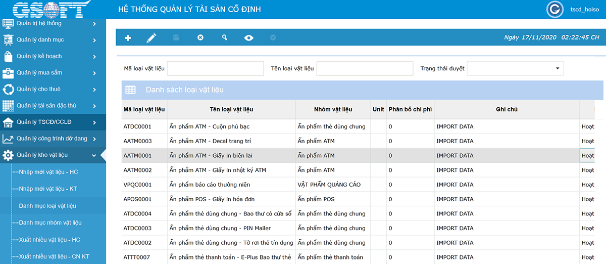 Thông tin về vật liệu được cập nhật, lưu trữ trong phần mềm gAMSPro