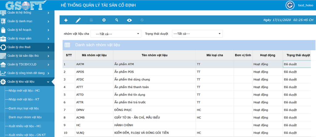 Thông tin về vật liệu được cập nhật, lưu trữ trong phần mềm