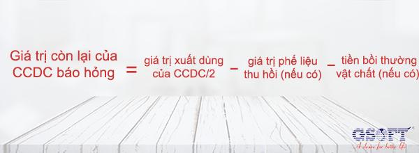 công thức tính giá trị còn lại của CCDC báo hỏng