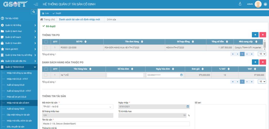 Tài sản cố định, công cụ dụng cụ được quản lý trong phần mềm gAMSPro