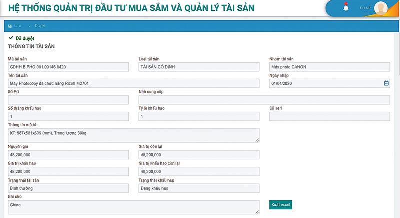 Thông tin chi tiết một tài sản cố định được lưu trữ trong phần mềm gAMSPro